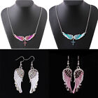 Women Angel Wings Diamond Pendant Necklace Chain Girls Jewellery Party Gifts