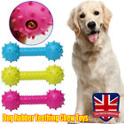 14CM Dog Rubber Teething Chew Toys Bone Play Training Barbell Barbed Dumbbell UK