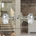 Diamond Crystal Glass Privacy Door Knobs Brushed Nickel Clear Passage Handle