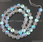 """Matte Frosted Top Crystal Glass Round Inside AB Beads 6mm 8mm 10mm 12mm 15.5"""""""