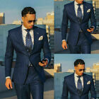 Navy Pin Striped Formal Groom Mens Suit Tailored Fit Business Wedding Tuxedos