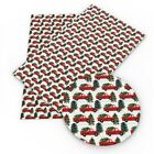 Red Christmas Truck with Tree Faux Leather Sheet