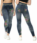 WOMEN FLORAL PRINTED STRETCH Fit Jegging Denim Look fashion Leggings Pants