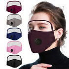 Adult Breathing Valve Cotton Outdoor Eyes Protective Face Mask With Eyes Shield
