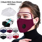Outdoor Protective Breathing Valve Face Mask With Eyes Shield 3 Masks +6 Filters