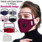 US Detachable Protective Breathing Valve Face Masks With Eyes Shield+2 Filters