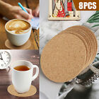 8/16pcs Cork Drink Coasters Tea Coffee Absorbent Round Cup Mat Table Decor Home