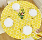 Vinyl Tablecloth Round Fitted Elastic Flannel Backed Moroccan Trellis 36-72 Inch