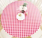 Vinyl Tablecloth Round Fitted Elastic Flannel Backed Gingham Check Plaid Pattern
