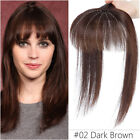 US 100% Remy Human Hair Mono Topper Clip In Top Piece Toupee Wig Bangs For Women