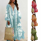 Autumn Boho Maxi Dress V Neck Tassel Long Sleeve Holiday Party Loose Sundress
