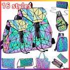 丿丿丿Geometric Holographic Backpack Reflective Rainbow Crossbody Shoulder Luminous
