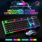 Gaming Keyboard and Mouse Combo Rainbow LED RGB Backlit Emitting Character