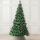 Artificial Christmas Tree Snow Frosted With Cones Berries 5ft 6ft 7ft Christow