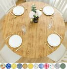 Vinyl Tablecloth Round Fitted Elastic Flannel Backing Cedar Wood Grain Pattern