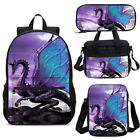 Purple Dragon Backpack Student School Bags Bookbag 4pcs Bag Set Lot Kids Gift