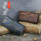Women Genuine Leather Long Wallet Cell Holder Clutch Painting Emboss Dragofly QR