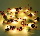 Xmas Garland with Pine Cone Red Berry Bell LED Fairy String Lights Ornament UK