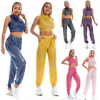 Women Soft Yoga Leather Sport Wide Leg Casual Loose Long Fitness Pants Trousers