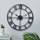 GARDEN WALL CLOCK ROMAN LARGE INDOOR OUTDOOR NUMERALS GIANT OPEN FACE METAL 60CM