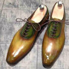 Bench Made to Measure Men's Genuine Mustard, Green Leather Lace up Oxford Shoes