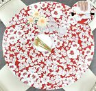 Vinyl Tablecloth Round Fitted Elastic Flannel Back Floral Red Holiday 36-56 Inch
