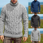 Men's Chunky Cable Knit Sweater Knitwear Jumper Turtleneck Pullover Outwear Tops