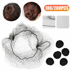 100/200PCS Invisible Hair Nets Bun Cover Elastic Edge Mesh Hairnet Stretch Cap