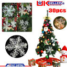30pcs Christmas White Snowflake Xmas Trees Hang Pendant Ornaments Decorations UK