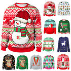 Men Women Ugly 3D Christmas Sweater Party Jumper Tops Sweatshirt Pullover Blouse