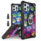 For iPhone 12 mini pro max Shockproof Removable Ring Clip Stand Case  PAW PRINTS