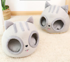 Large Cat Bed Cave Small Wool Cozy Pet Igloo Bed Winter House Nest Kennel Grey
