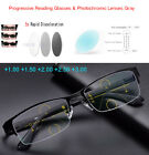 Photochromic Progressive Reading Glasses Metal Half Frame 1.0 1.5 2.0 3.0