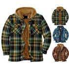 .Mens Winter Warm Plaid Hooded Jacket Padded Peacoat Checked Outwear Coat Tops.
