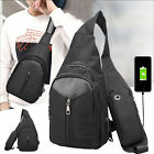 Men Shoulder Chest Bag Crossbody Sling Backpack w/ USB Charging Port for Travel