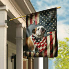 Bulldog Happy 4th Of July. American US Flag THN2196F Garden and House Flag