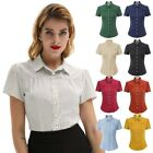 Retro Shirt Square Collar Curved Hem Polyester Us Uk Size Button placket