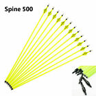 "6/12/24Pcs Archery Hunting Yellow Carbon Arrow 30""SP500 For Compound/Recurve Bow"