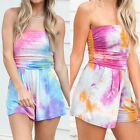 Womens Boho Tie Dye Print Overalls Casual Jumpsuit Rompers beach Shorts Playsuit