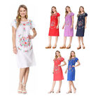 Women's Puebla Mexican Inspired Traditional Floral Embroidered Shirt Dress