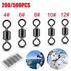 200/500x Fishing Swivel Connector 5Size Solid Ball Bearing Rolling 8 Ring 4#-12#
