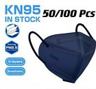 50/100 Pcs Blue Kn95 Protective 5 Layer Face Mask Bfe 95% Disposable Respirator