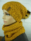 VEILO 2 Piece Set Women's Hat  Scarf Loop Beanie Large Pompom Ppwh 38.03