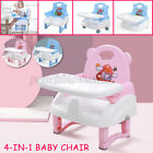 4 In 1 Baby High Chair Seat Belt Foldable Adjustable Tray Child Feedin
