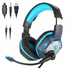 LED Stereo Sound Gaming Headset Headphone w/Adjustable headband for PS5 Xbox One