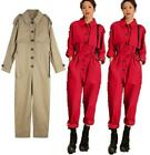 Workwear jumpsuit womens high waist spring suit Korean loose straight-leg pants