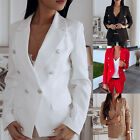 Ladies Double Breasted Blazer Work Office Formal Jacket Fitted Lapel Coat Tops