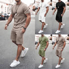 Mens Summer Outfit 2-Piece Set Short Sleeve T Shirts and Shorts Sweatsuit Set US