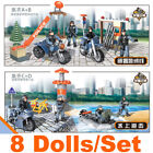 8PCS Military Soldiers SWAT Army  Weapon Motorcycle Boat For Minifigures Mega