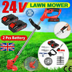 24V Cordless Grass Trimmer Electric Lawn Strimmer Lithium Battery & 8 Blades UK